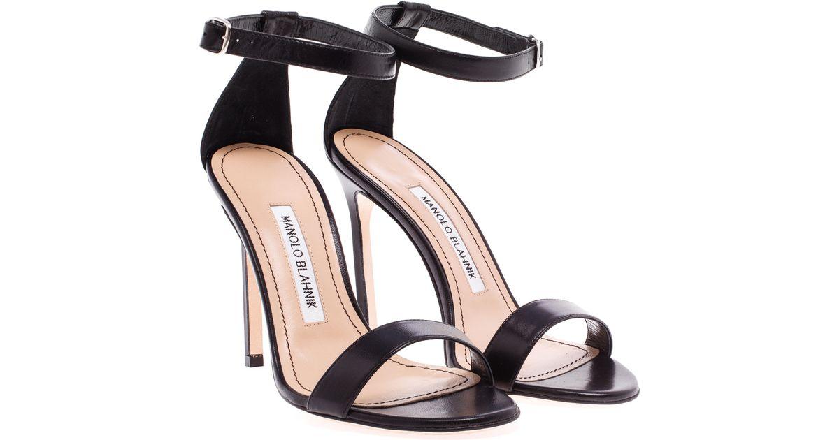 5a2da3605ddde Manolo Blahnik Chaos Leather Sandals in Black - Lyst