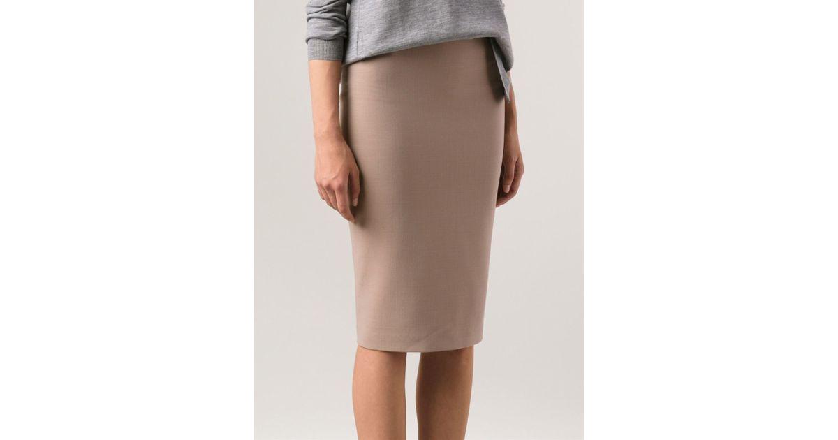 0fe13e9809 Brunello Cucinelli Side Zip Pencil Skirt in Natural - Lyst