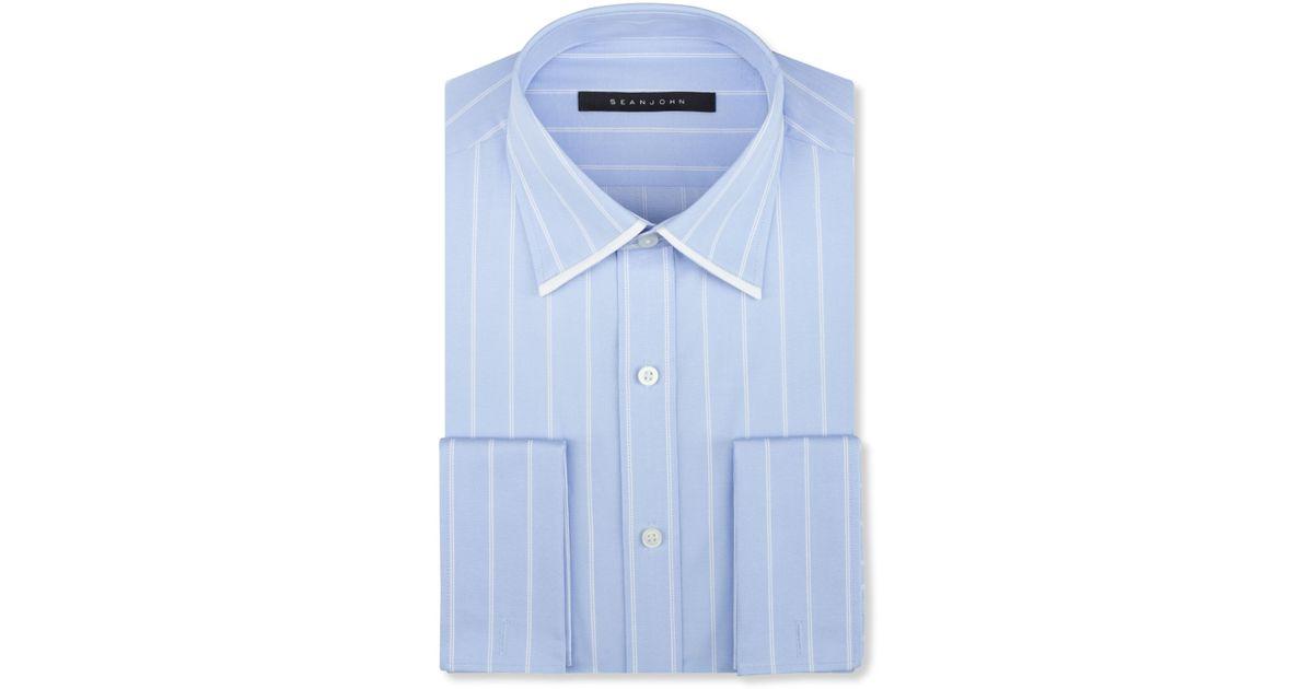 Lyst sean john big and tall sky blue stripe french cuff for Big and tall french cuff dress shirts