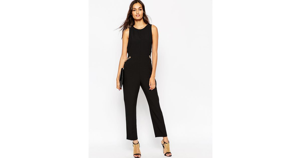 Asos Jumpsuit With Side Cut Outs And Chain Detail In Black