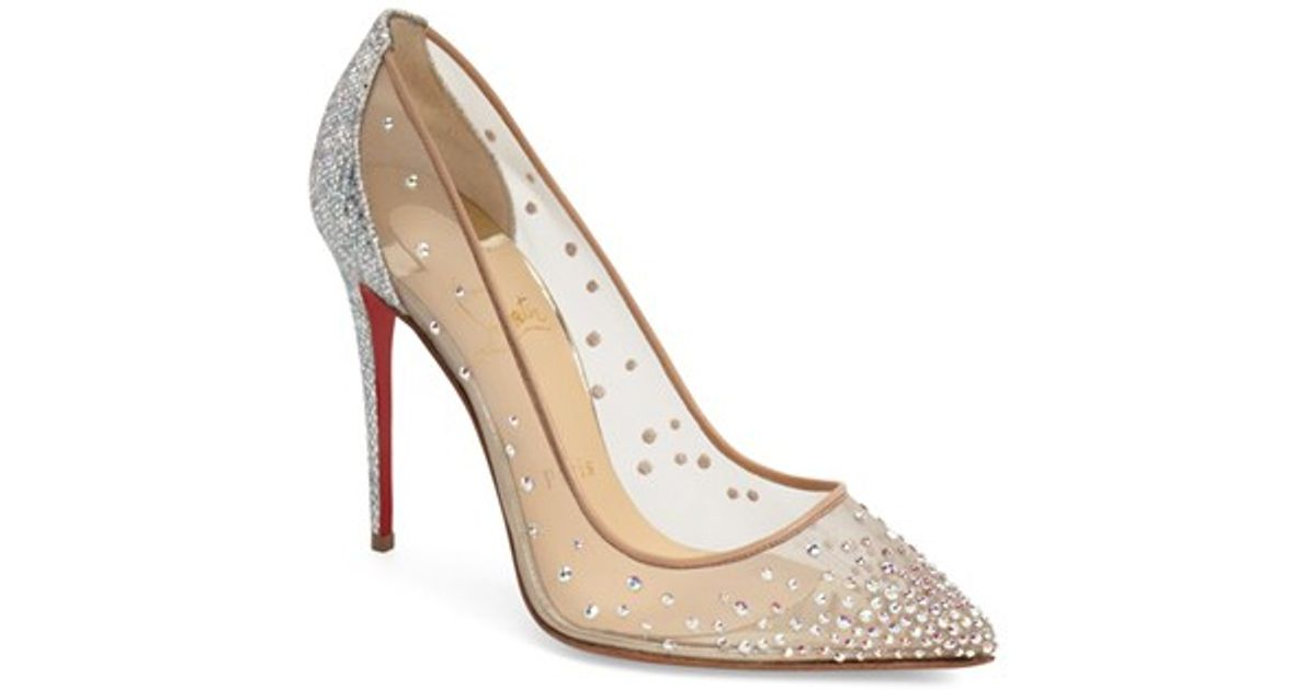 christian louboutin follies strass pointed toe pump