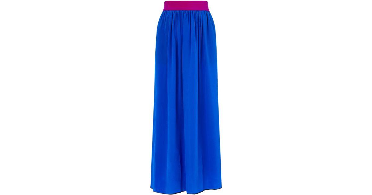 roksanda royal blue silk despina skirt in blue lyst