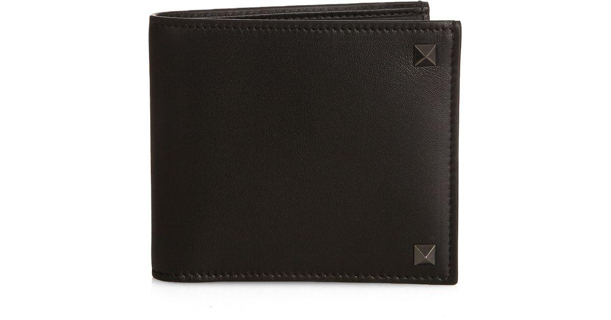 Valentino Rockstud Bi-fold Leather Wallet Nfs2k77NK