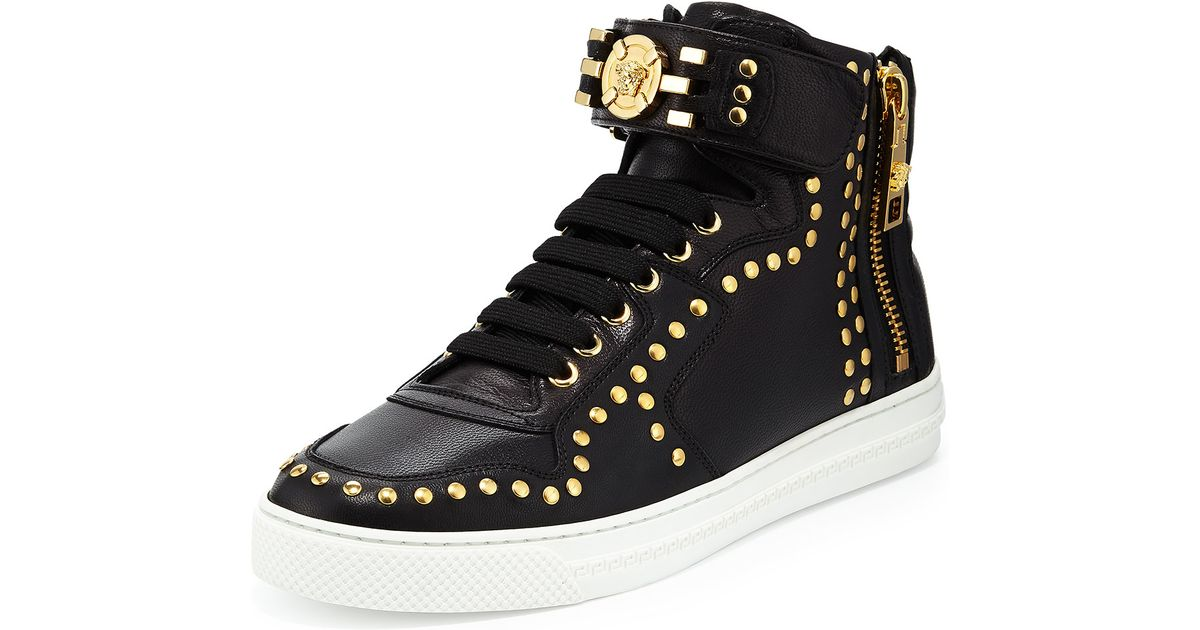 Versace Leather High Top Sneaker With Gold Medallion In