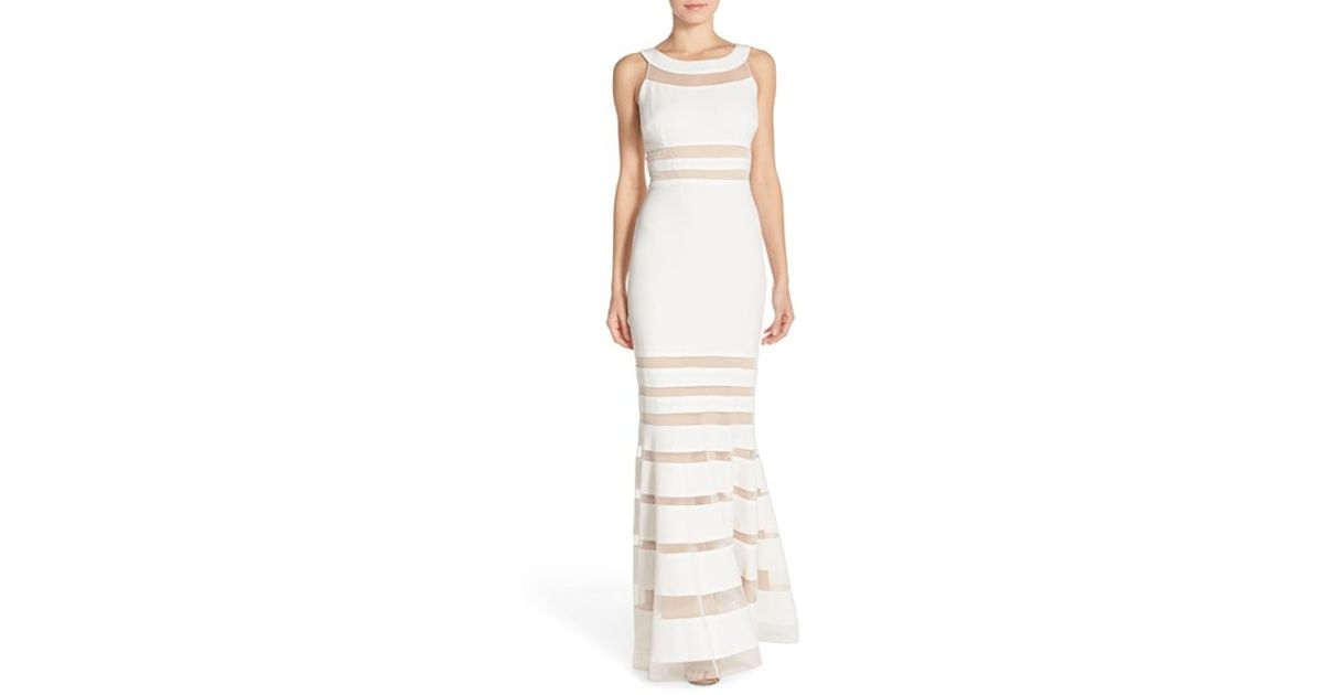 Lyst - Js Collections Shadow Stripe Knit Mermaid Gown in White