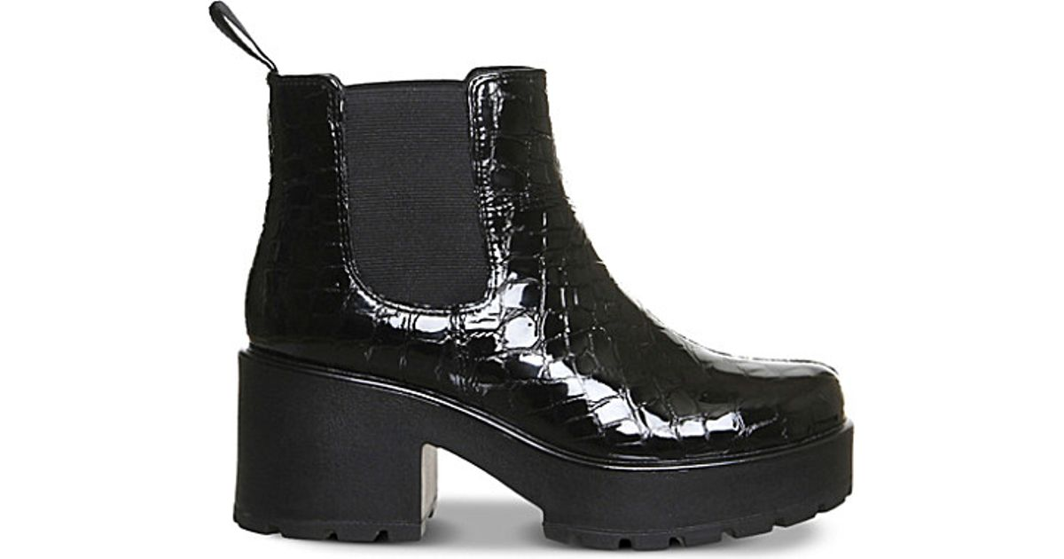 vagabond dioon embossed patent leather chelsea boots in. Black Bedroom Furniture Sets. Home Design Ideas