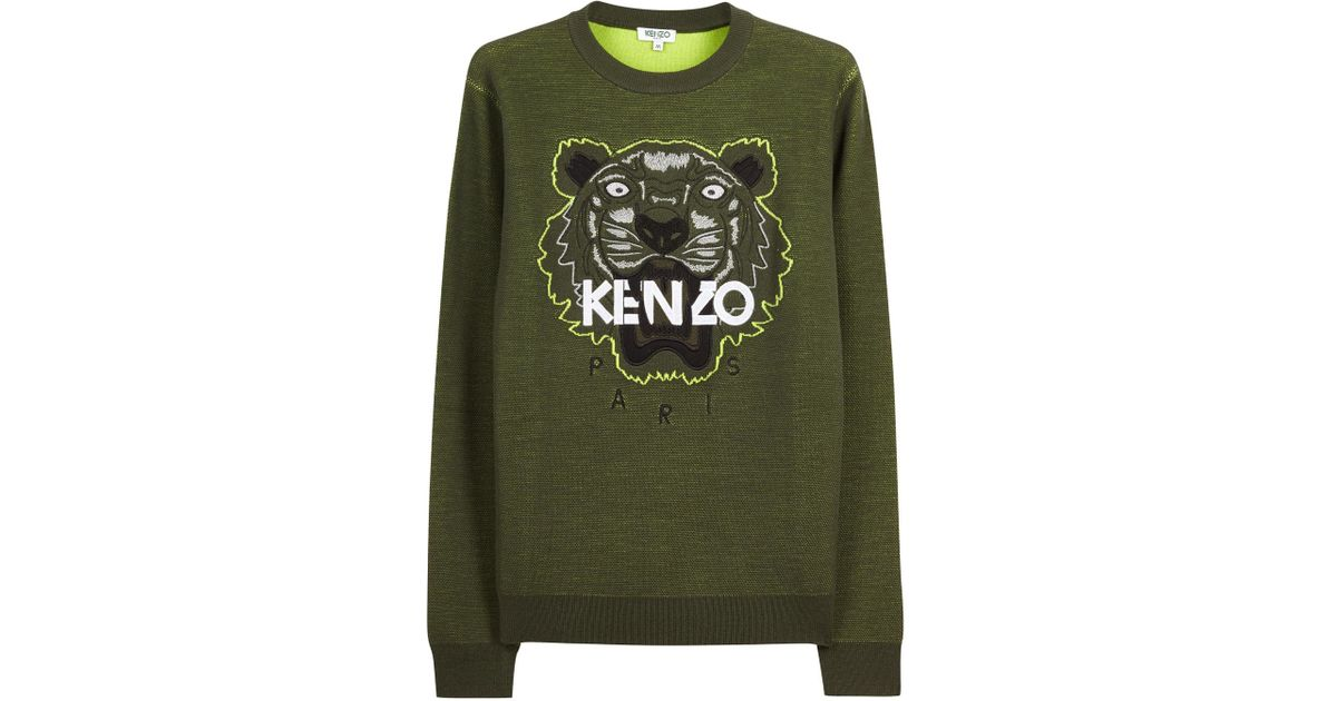 16e3e7ba KENZO Embroidered Tiger Wool Blend Jumper in Natural for Men - Lyst