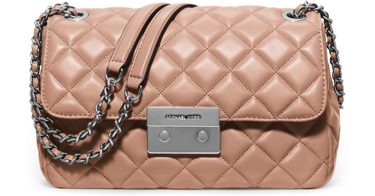 accfc33dae481 Lyst - Michael Kors Sloan Large Quilted-leather Shoulder Bag in Pink