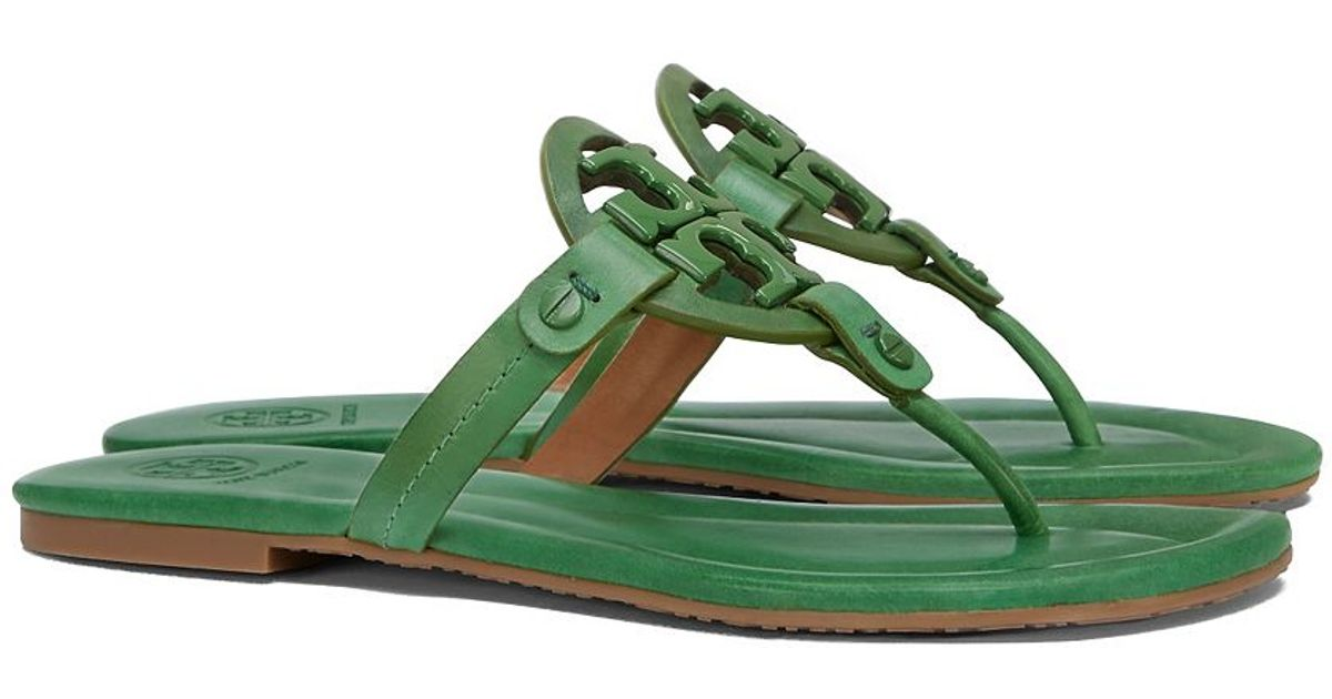 c4a7d6b565c4 Tory Burch Miller Leather Sandal in Green - Lyst