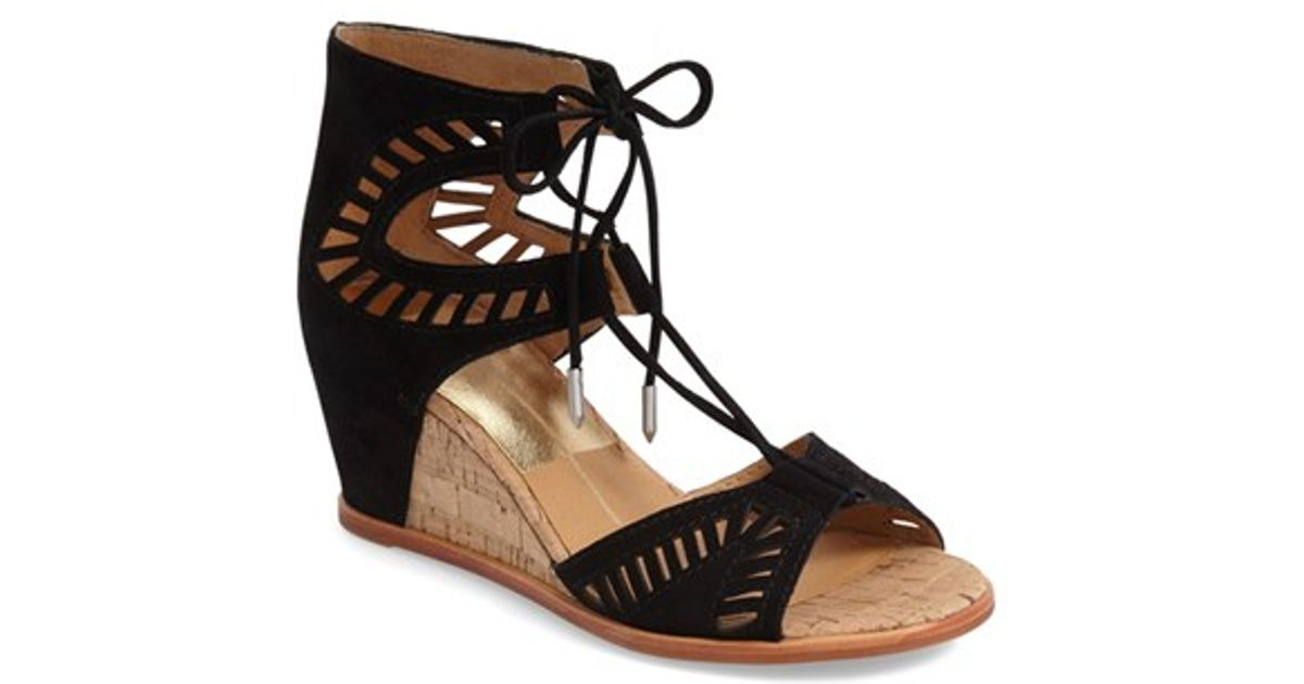 ea2e8c946a8 Lyst - Dolce Vita  linsey  Lace-up Wedge Sandal in Black