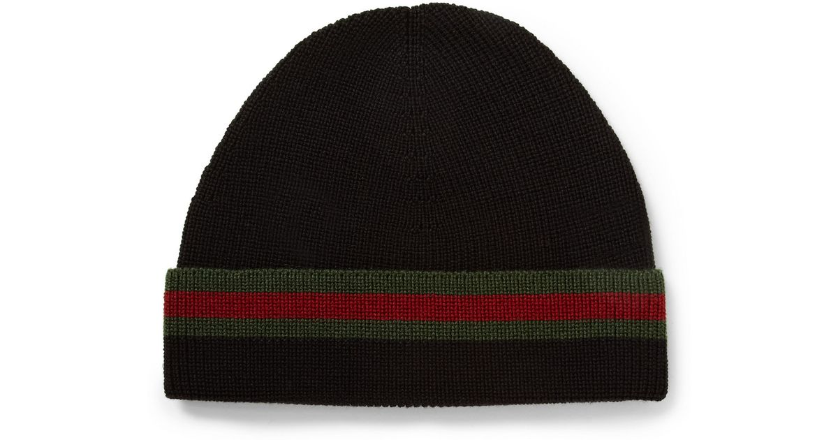 36b2eb402e19 Lyst - Gucci Striped Wool And Silk-Blend Beanie Hat in Black for Men