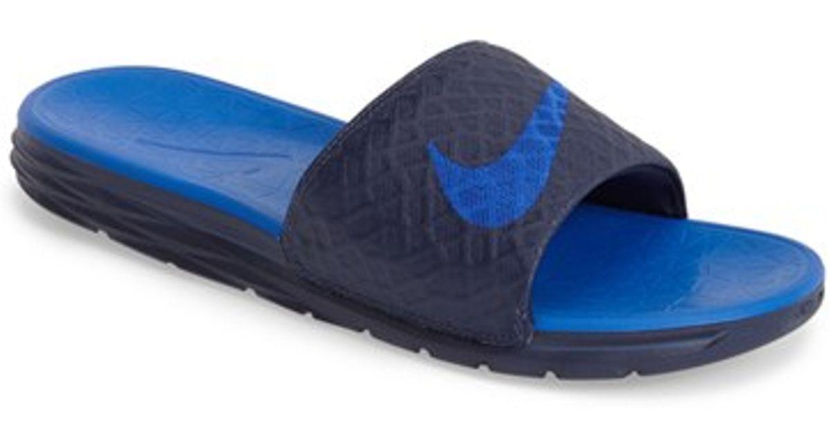 Excellent Nike Slides Solarsoft Thong 2 ClearwaterWhiteDark Electric Blue