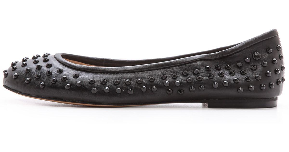 660332bf9eb93c Lyst - Sam Edelman Forsyth Studded Flats Burgundy in Black
