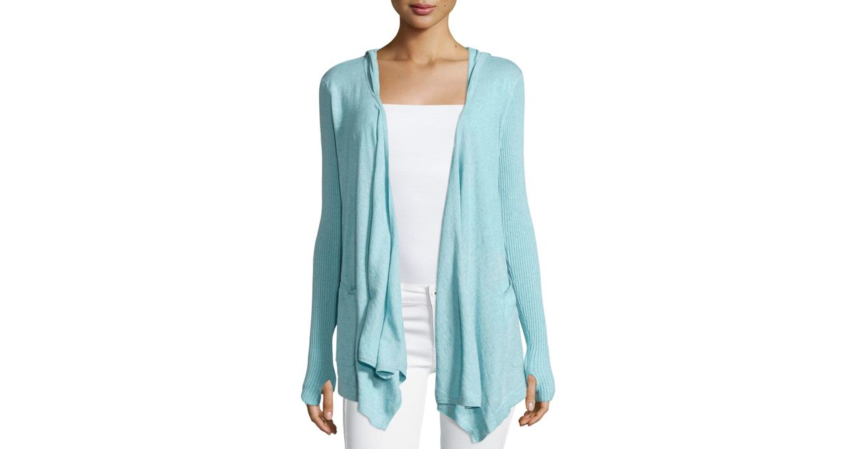 Minnie rose Cotton Hooded Open-front Duster Cardigan in Blue | Lyst