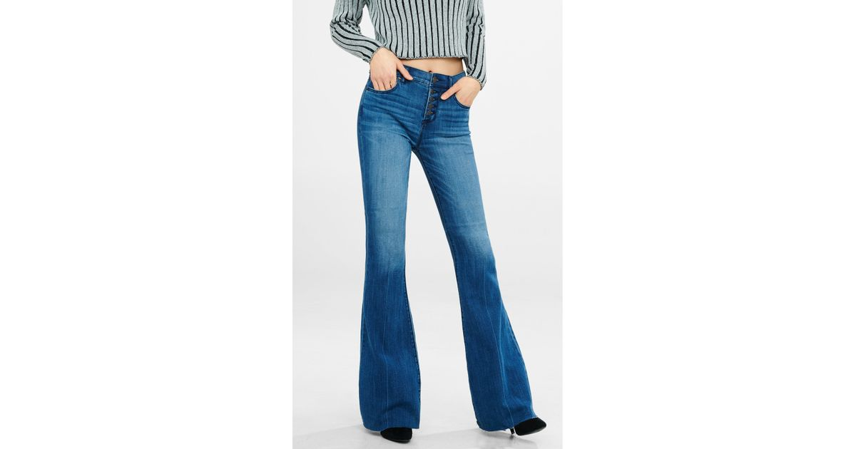 Express high rise button fly raw hem bell flare jean in for Express wash roma