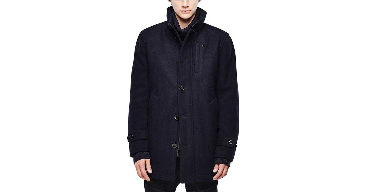 G-star raw Melton Wool Trench-inspired Coat in Blue for Men | Lyst