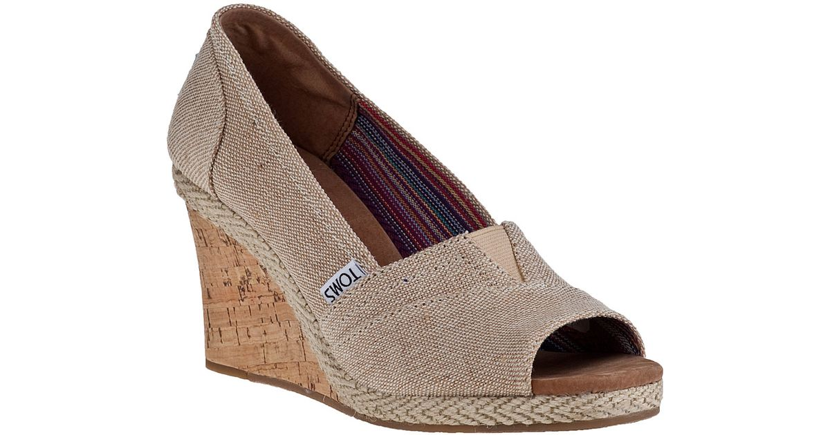 4d56b8e7aae TOMS Calypso Wedge Pump Amery Fabric in Natural - Lyst