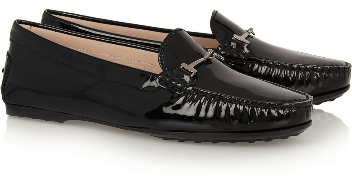 490ef0878ef Tod's City Gommino Embellished Patent-Leather Loafers in Black - Lyst