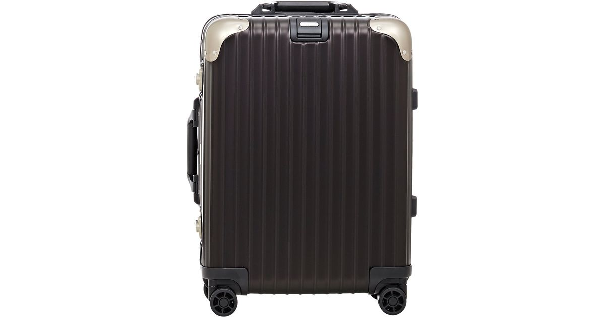 rimowa topas stealth 22 cabin multiwheel iata suitcase in black for men lyst. Black Bedroom Furniture Sets. Home Design Ideas