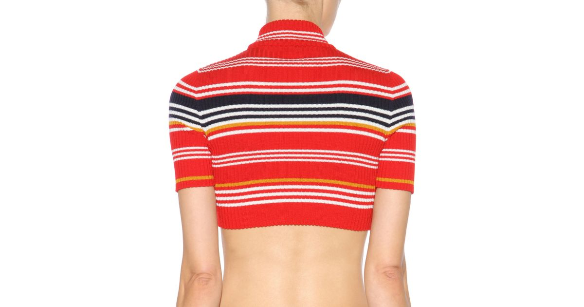 37e748aa2a4 Alessandra Rich - Orange Striped Wool Cropped Turtleneck Sweater - Lyst