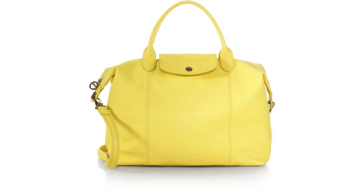 Longchamp Yellow Le Pliage Cuir Medium Handbag