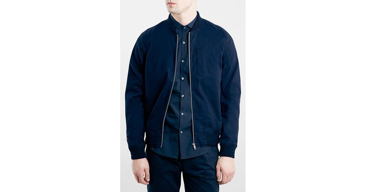 724b65214 TOPMAN Blue Navy Cotton Bomber Jacket for men