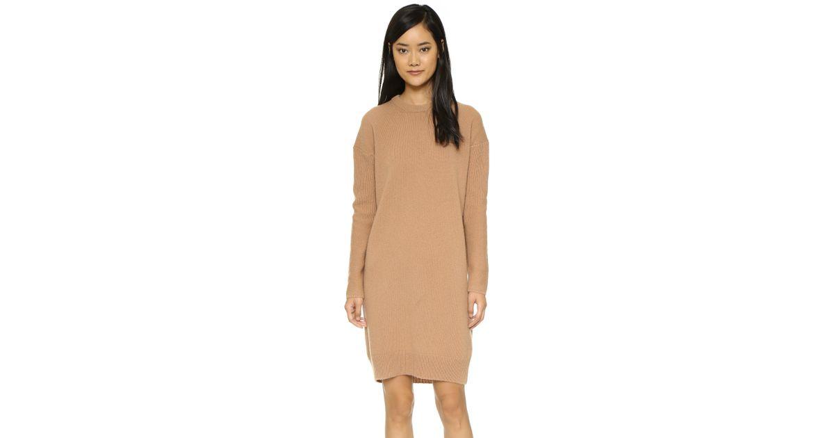 368ebddb093 Lyst - Acne Studios Phebe Shet Wool Sweater Dress - Cashew Brown in Brown
