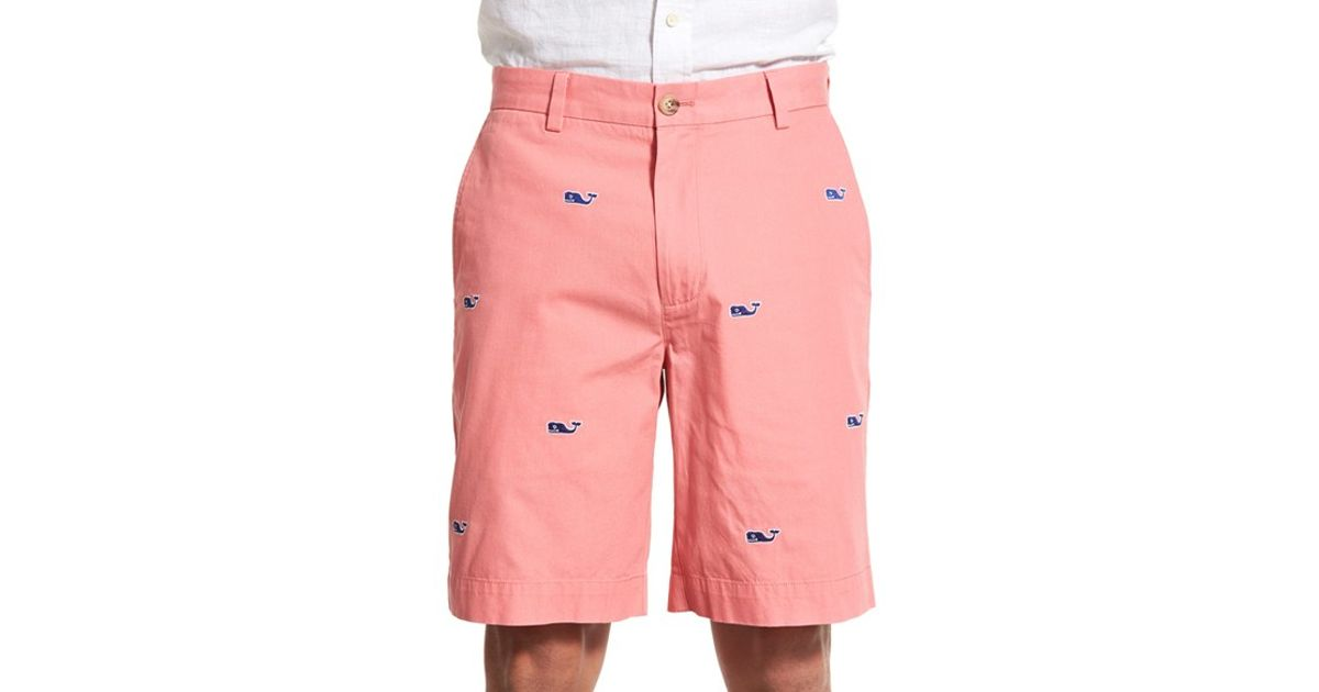 Vineyard vines 'whale - Breaker' Embroidered Cotton Shorts in Red for Men (LOBSTER RED) - Save ...