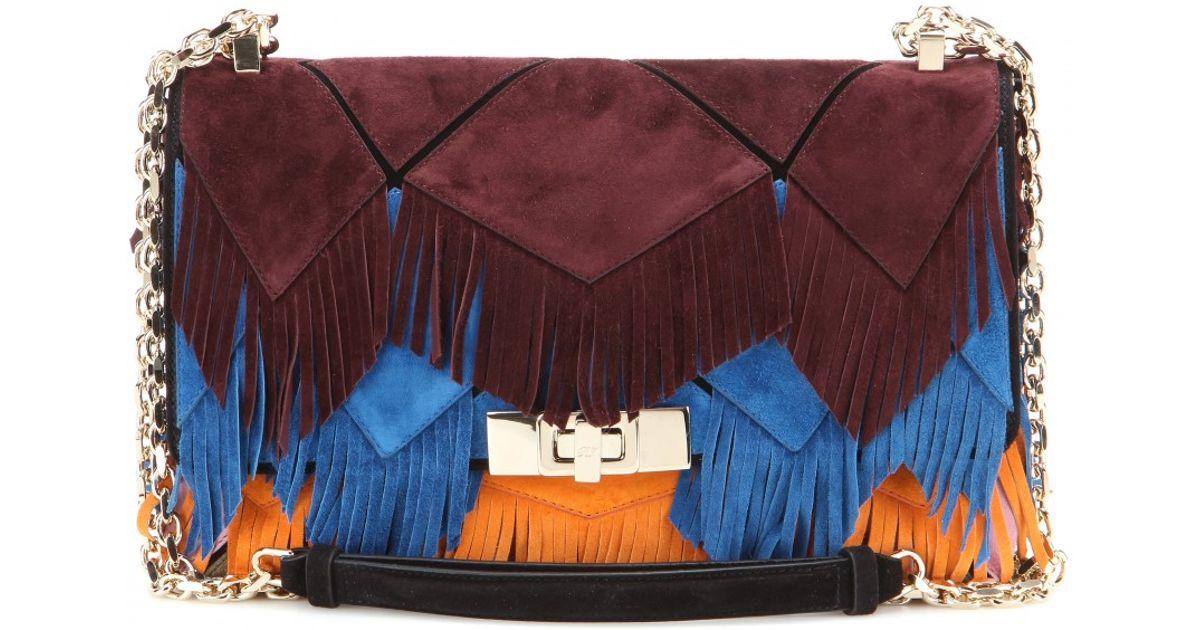 Lyst - Roger Vivier Prismick Fringe-embellished Suede Shoulder Bag in Blue e91503635b71a