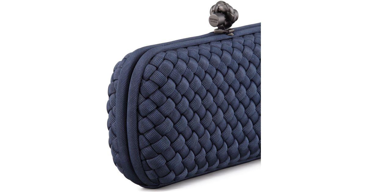 75d8412ac29 Lyst - Bottega Veneta Woven Faille Large Knot Clutch Bag in Blue