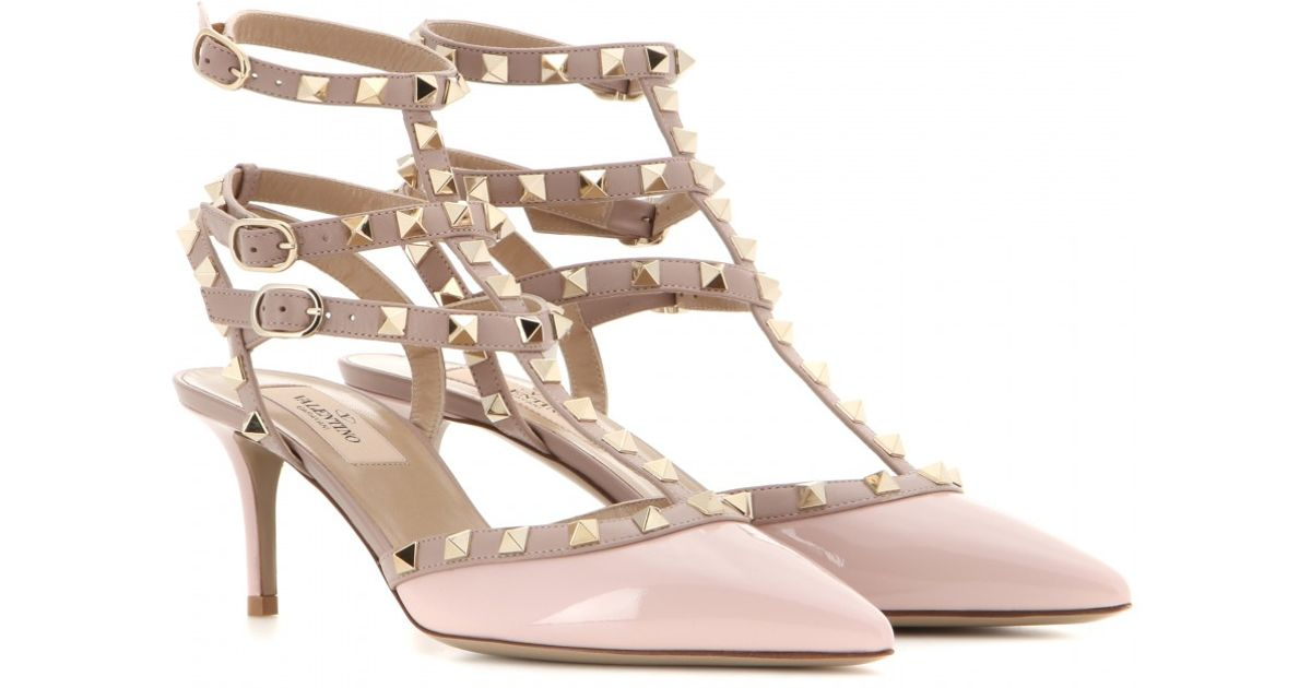 valentino rockstud patent leather kitten heel pumps in pink lyst. Black Bedroom Furniture Sets. Home Design Ideas