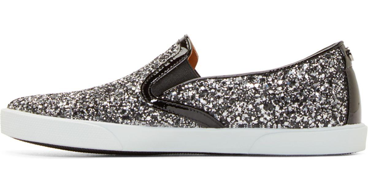 819c6e0dbb5 Lyst - Jimmy Choo Black And Silver Glitter Demi Sneakers in Metallic