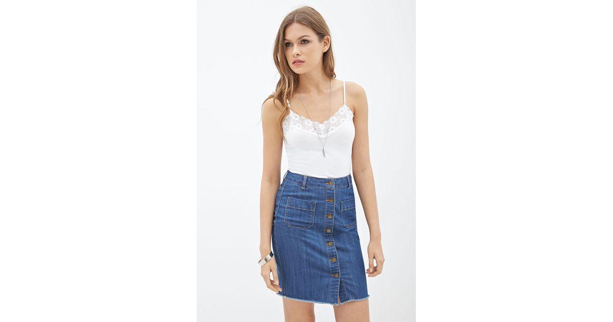 8cf0b91b Forever 21 Button-down Denim Skirt in Blue - Lyst