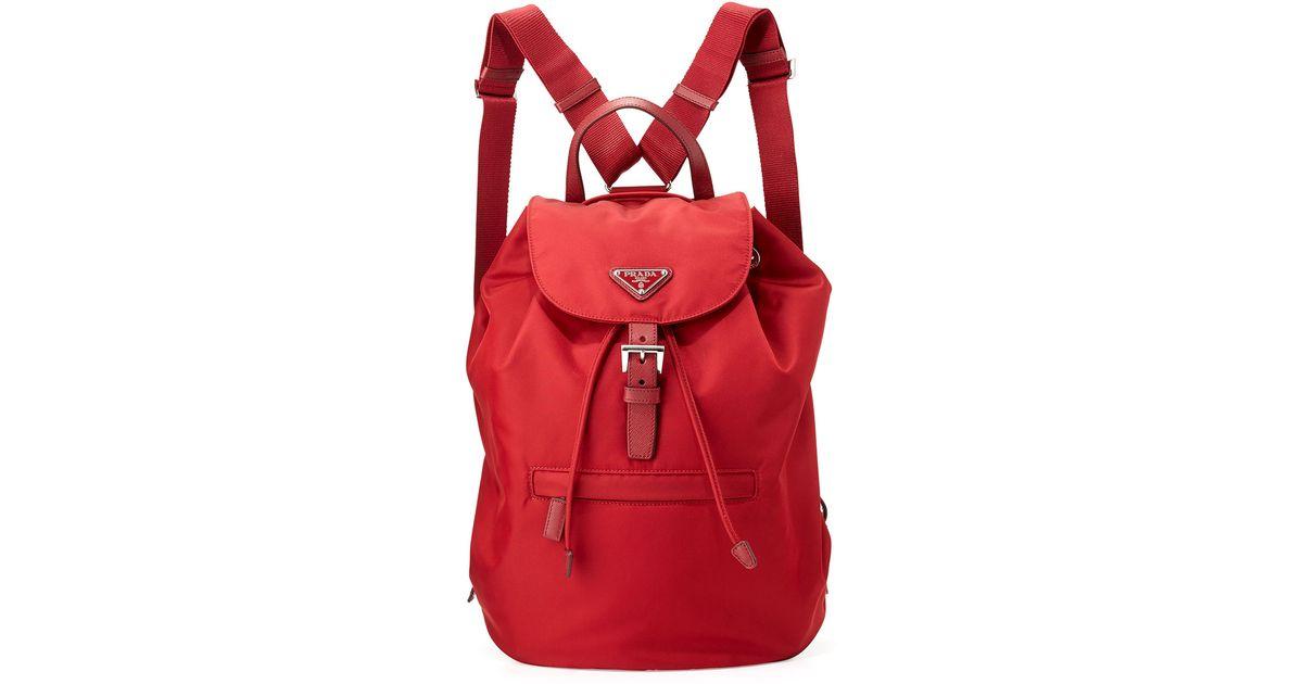 authentic prada backpacks - Prada Vela Large Drawstring Backpack in Red | Lyst