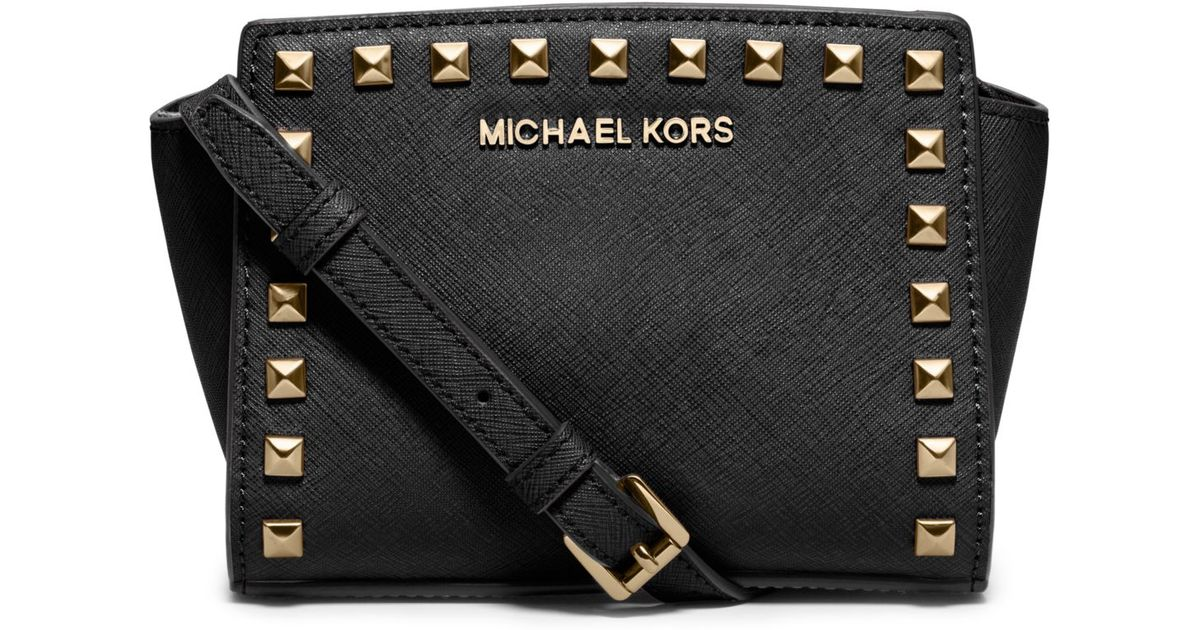 109c42005ce6 Lyst - Michael Kors Selma Mini Studded Leather Crossbody in Black