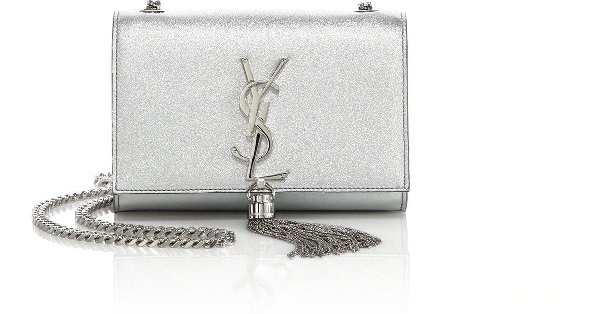 Monogram Metallic Tassel Clutch Bag Silver Ysl Evening Bag