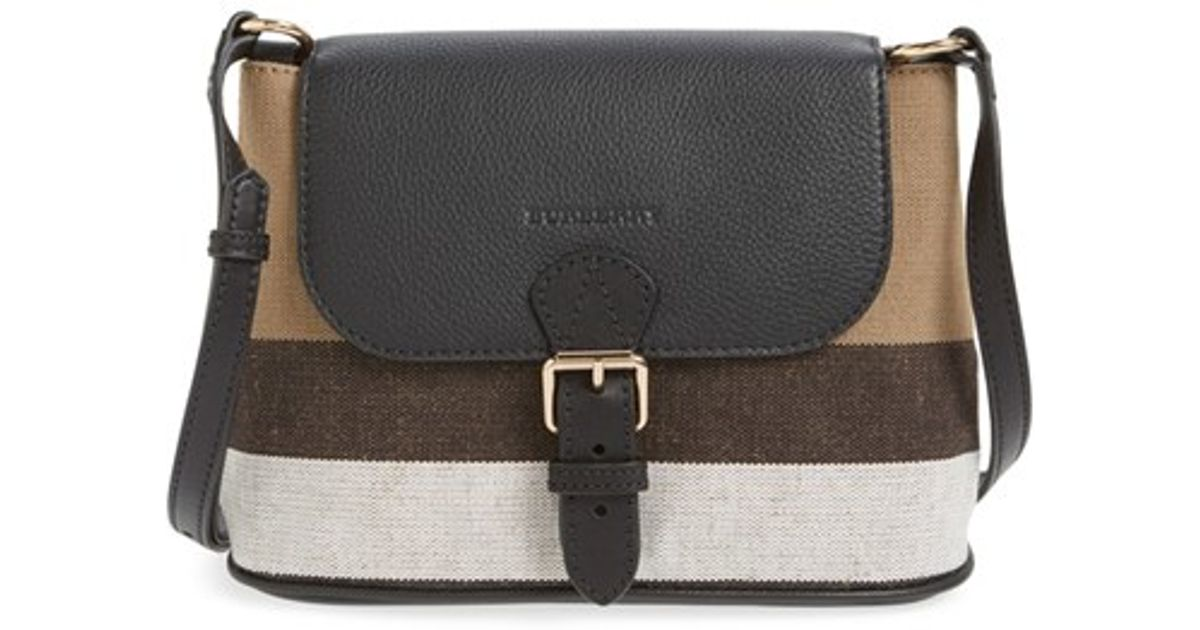 Lyst Burberry Gowan Canvas Check Print Leather Crossbody Bag In Natural