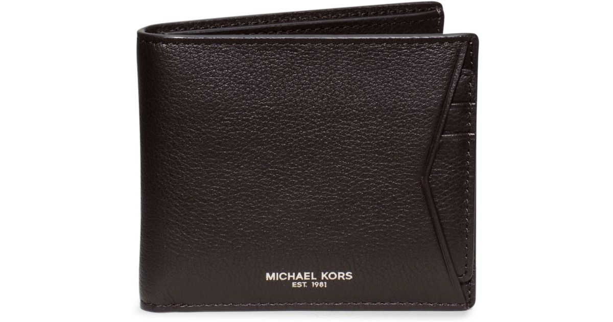 best sneakers 77e96 a3a1d Michael Kors Brown Bryant Leather Card Case And Billfold Wallet for men
