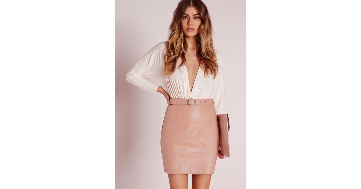 Missguided Buckle Detail Faux Leather Mini Skirt Nude Pink in Pink ...