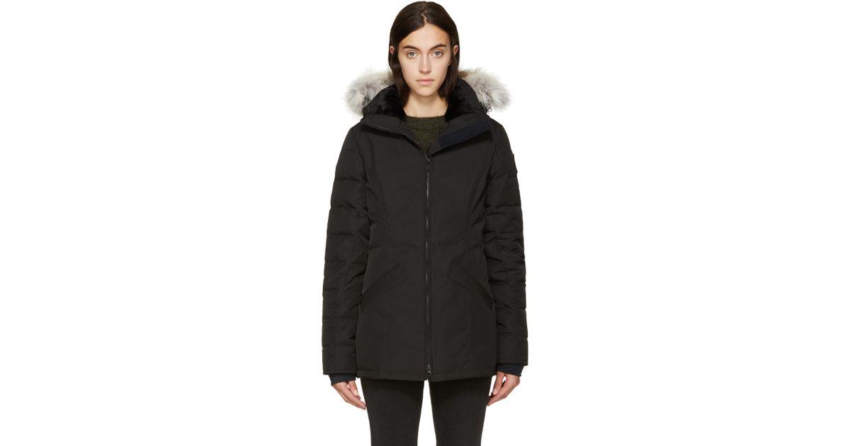 b7cddf3e5a55 ... purchase lyst canada goose black label down and fur belmont coat in  black 5ea00 da39d