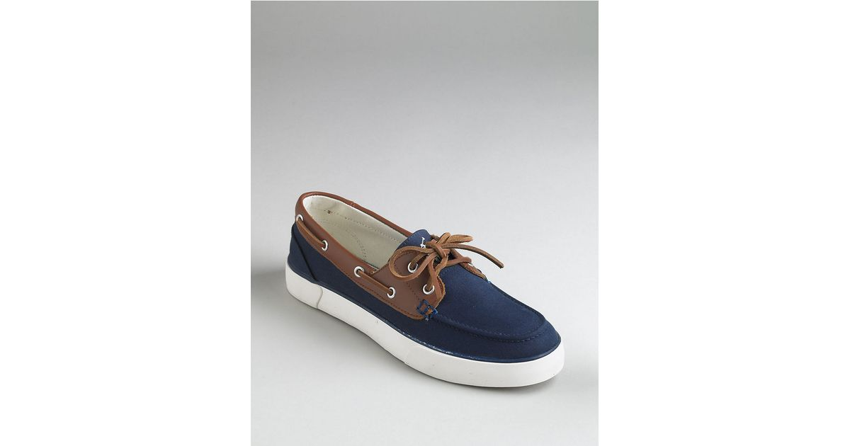 polo ralph rylander canvas boat shoes in blue for