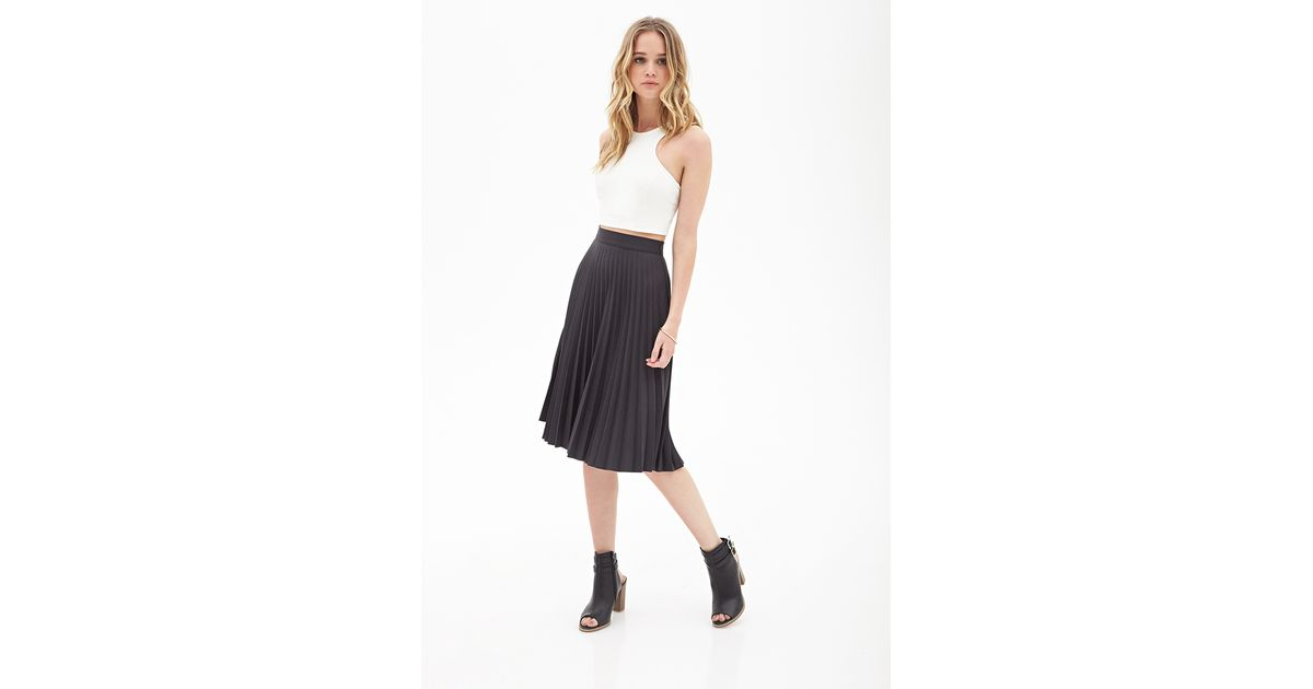 79e346afb2 Forever 21 Accordion Pleated A-line Skirt in Gray - Lyst
