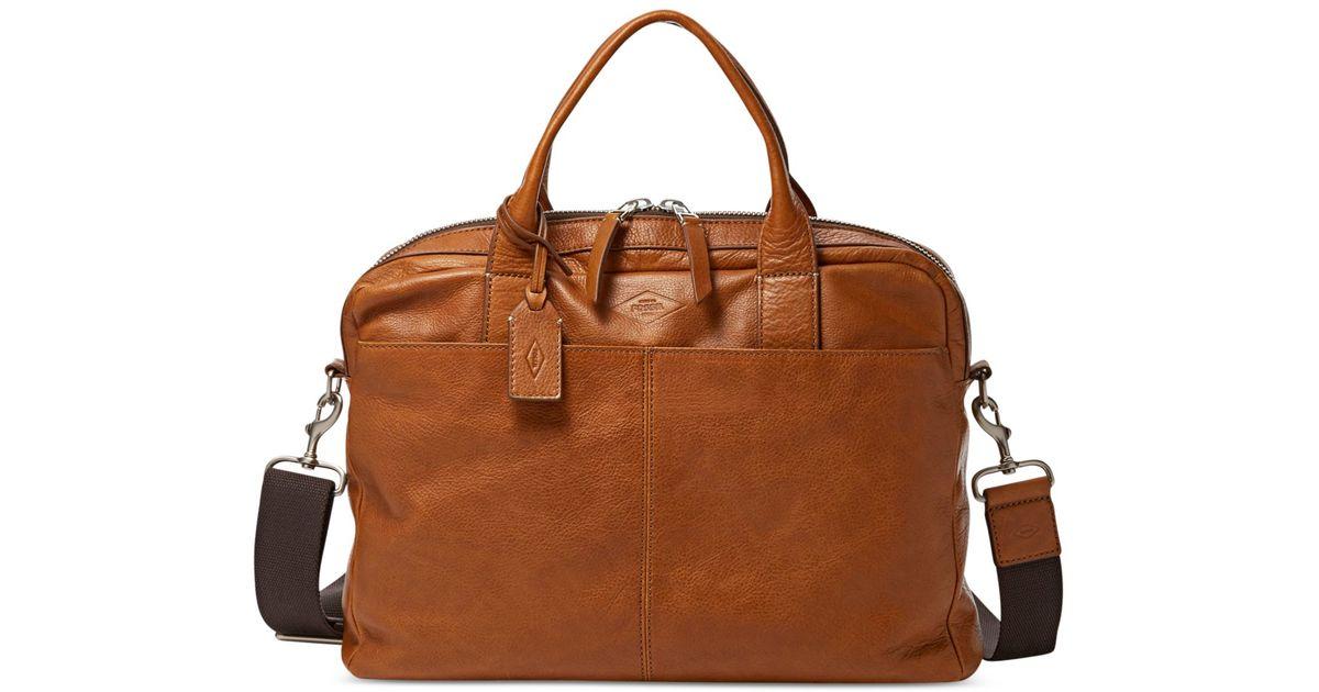 Fossil Brown Wyatt Leather Work Bag For Men