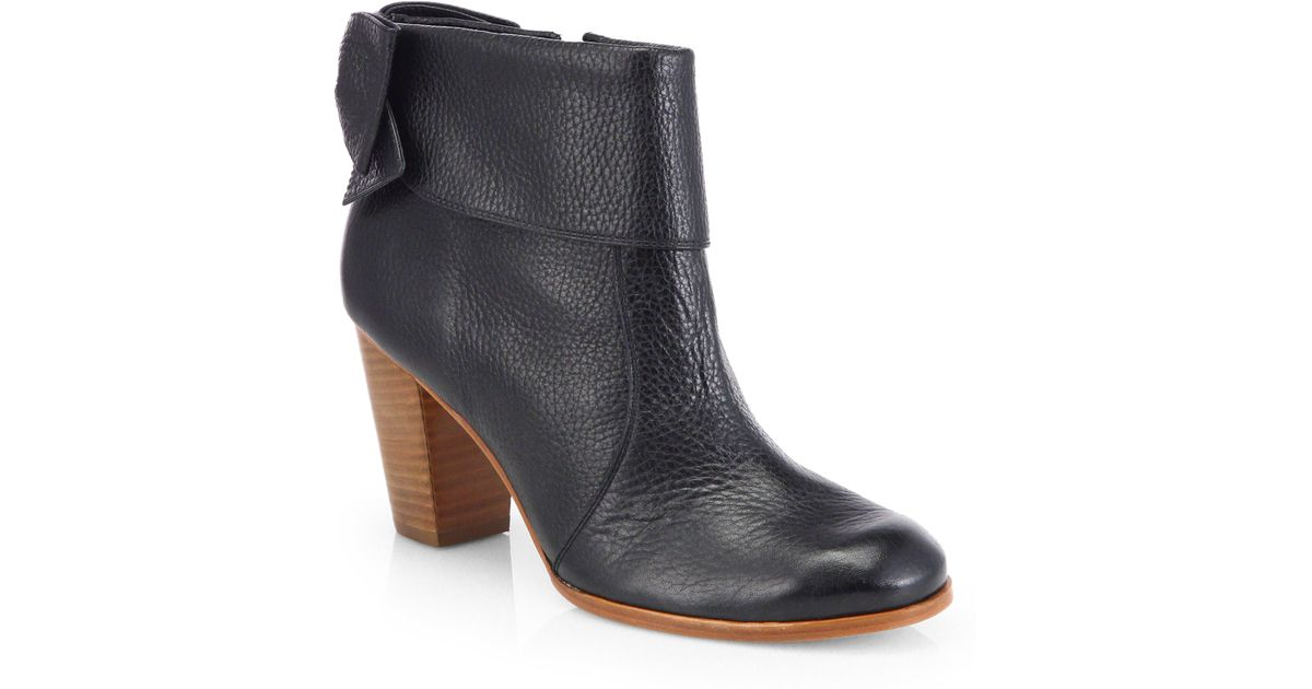 kate spade new york lanise bow leather ankle boots in