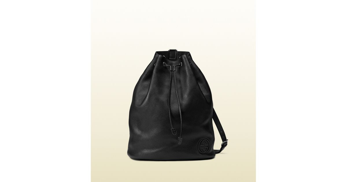 32b54142cee Lyst - Gucci Soho Leather Drawstring Backpack in Black for Men