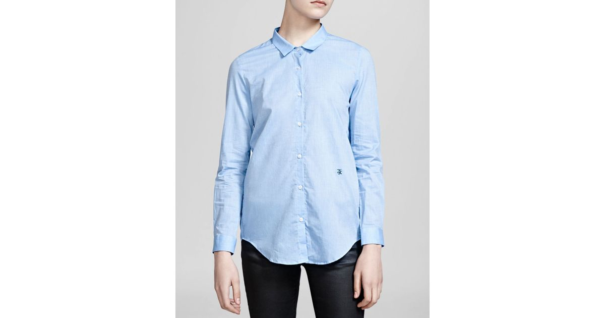 The kooples shirt chambray in blue lyst for Blue chambray shirt women s
