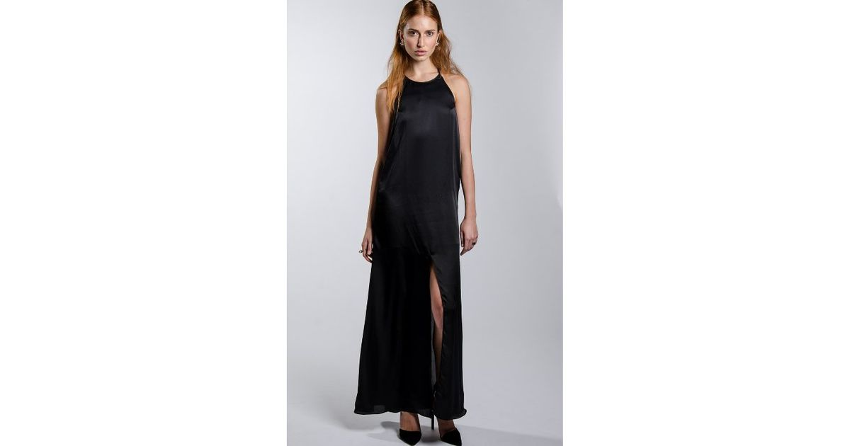 Concrete Runway Your Highness High Neck Maxi Dress In