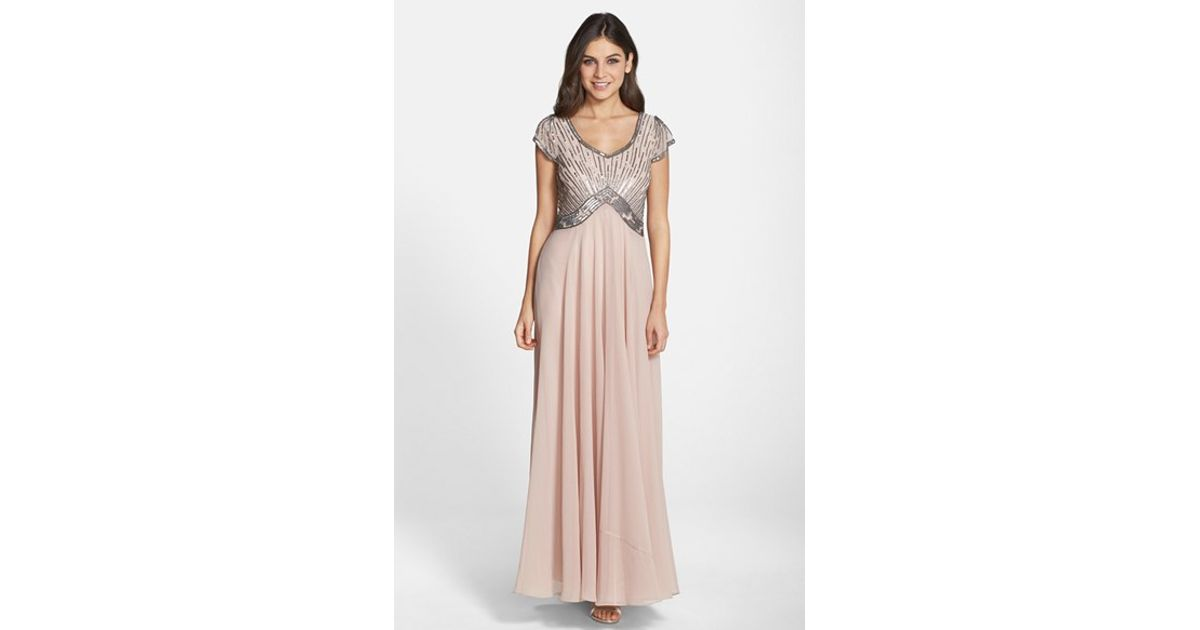 Lyst - J Kara Embellished Chiffon Gown in Pink