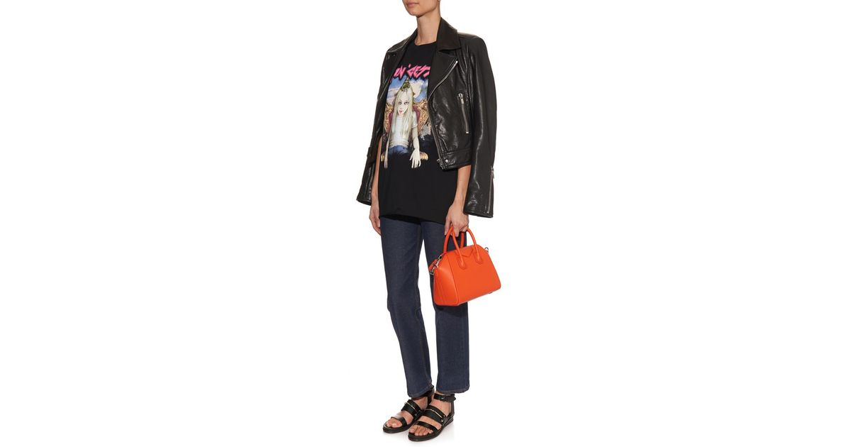 3f414c3faf Lyst - Givenchy Antigona Mini Leather Cross-Body Bag in Orange