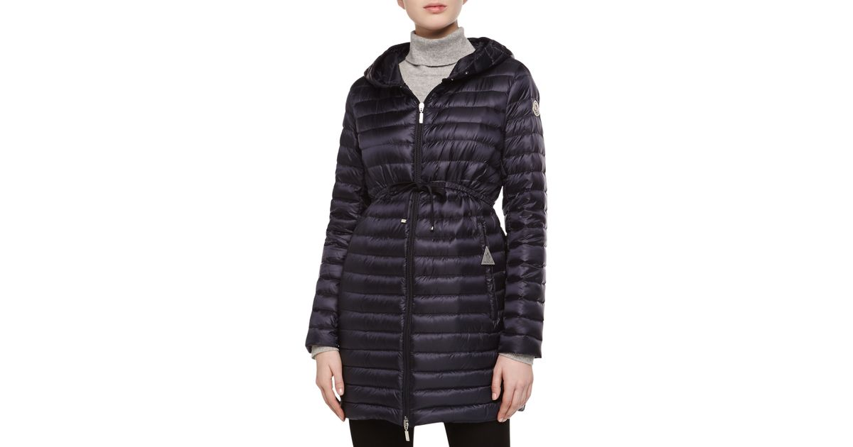 b5a2758ab Moncler Blue Barbel Hooded Down-Fill Knee-Length Jacket